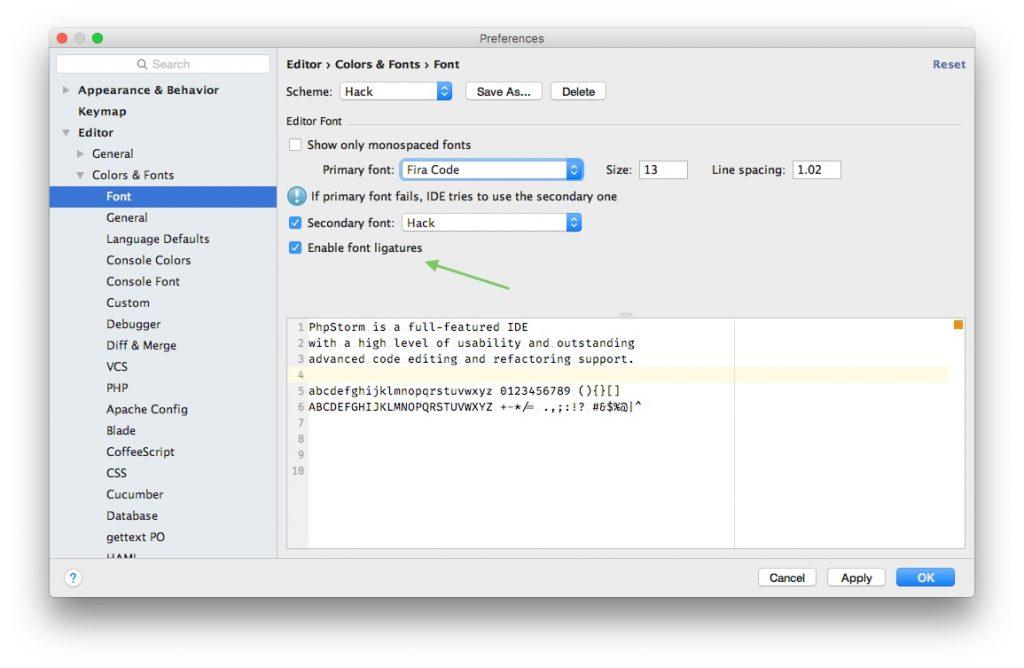 PHP-Storm Einstellfenster für Fonts