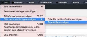 Firefox WebDeveloper Toolbar zeigt Druck-Menü