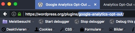 Browser-URL zeigt Slug des Plugins