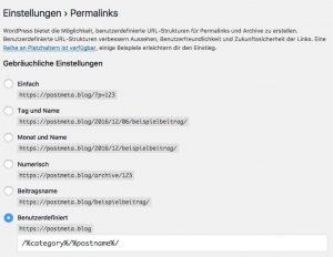 WordPress Einstellungsfenster für Permalinks