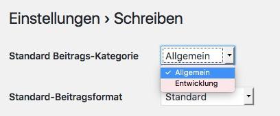 Einstellungsfeld für die Standardkategorie in WordPress