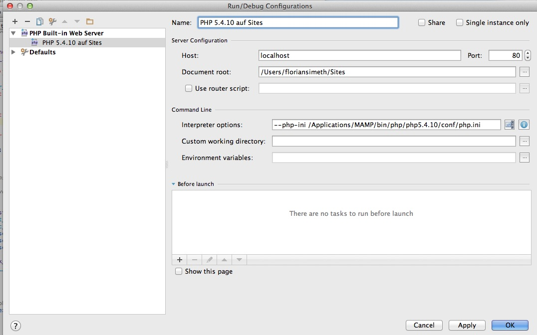PHPStorm Run/Debug Configuration