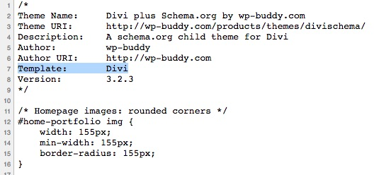 Quellcode der Child-Theme CSS-Datei