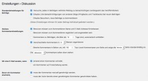 Diskussions-Einstellungen in WordPress