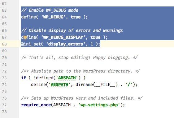 Die wp-config.php mit aktiviertem Debugging.
