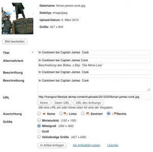 Einfügen von Bildern in WordPress