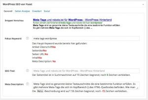 WordPress SEO by Yoast (Screenshot)