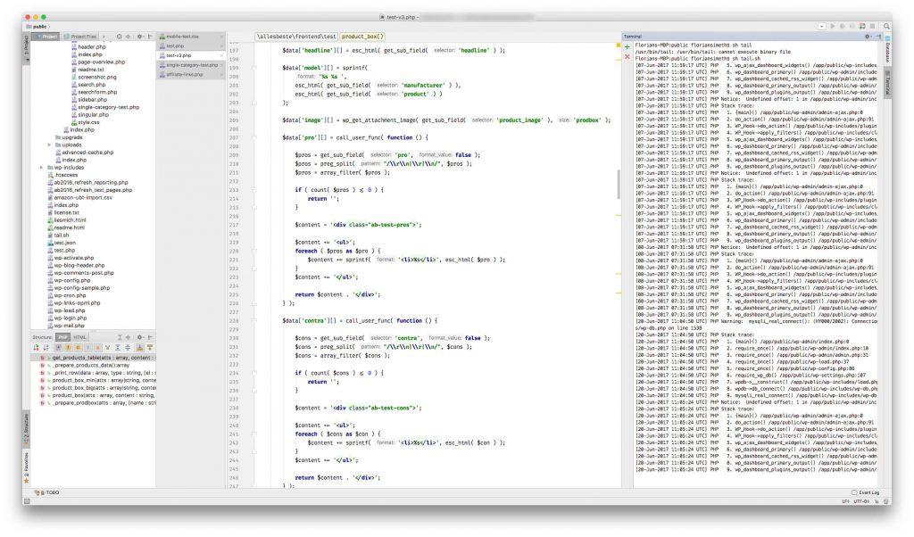 PHPStorm Fenster auf dem Mac