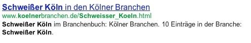 """Suchresultate nach """"Schweißer in Köln"""""""