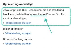 Google Pagespeed Insights zeigt die Above-The-Fold Meldung
