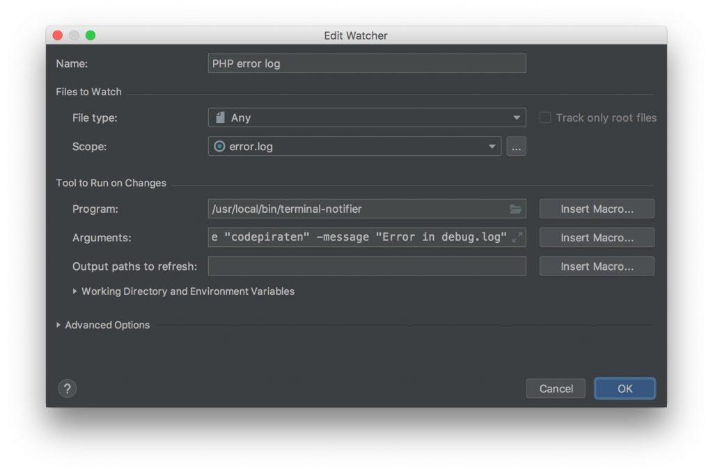 Konfigurationsfenster eines FileWatchers in PHP Storm