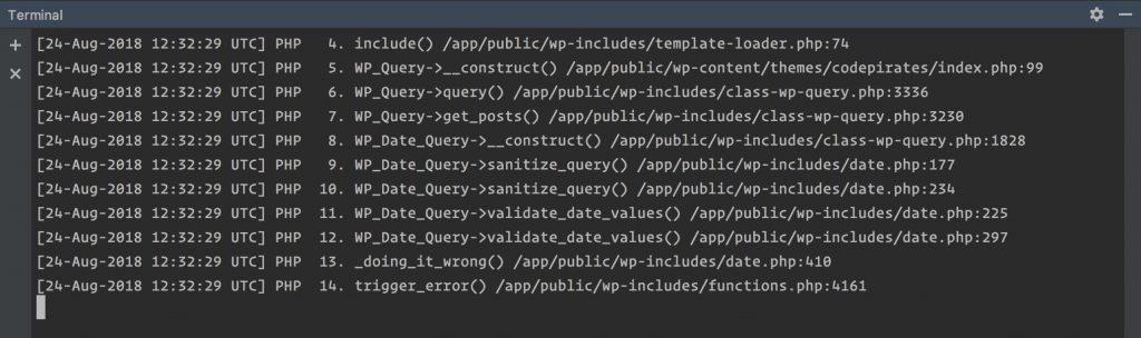 Das Terminal von PHP-Storm zeigt einige PHP-Fehler.