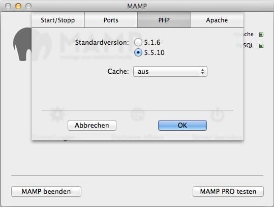 MAMP Free: PHP Einstellungen