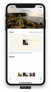 iPhone zeigt Bild mit GPS-Koordinaten