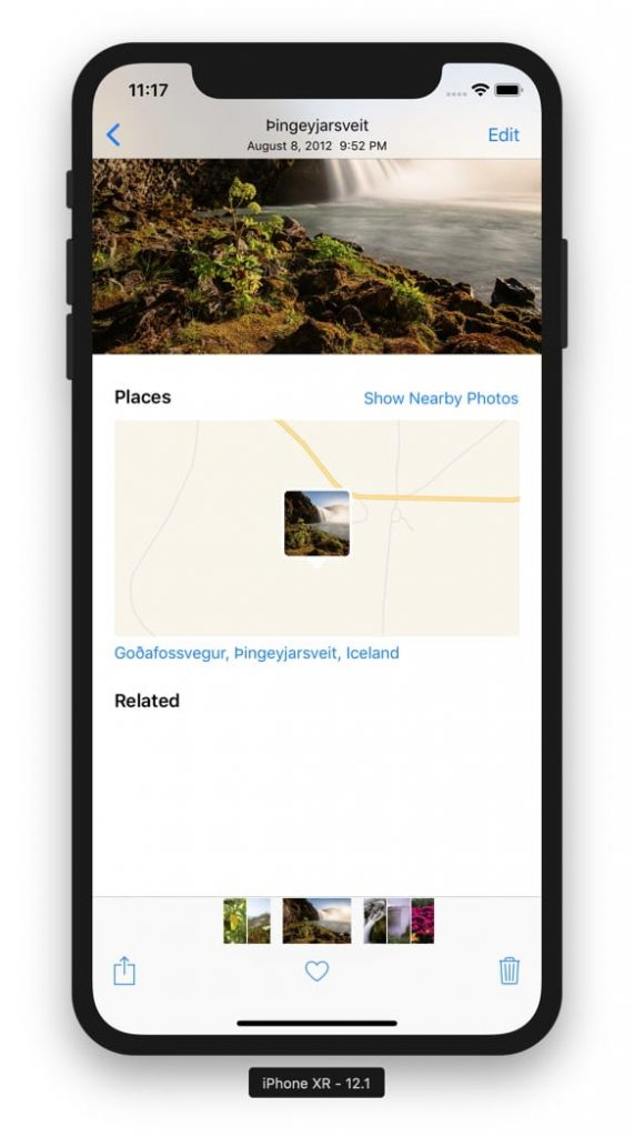 iPhone screen that shows where a picture was shoot on a map using the GPS coordinates from a picture.