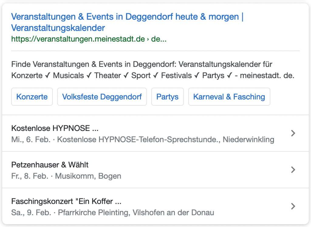 Suchtreffer in WordPress mit Auflistung von Events
