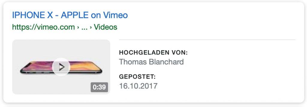 Ein Suchtreffer in Google mit Video-Vorschaubild