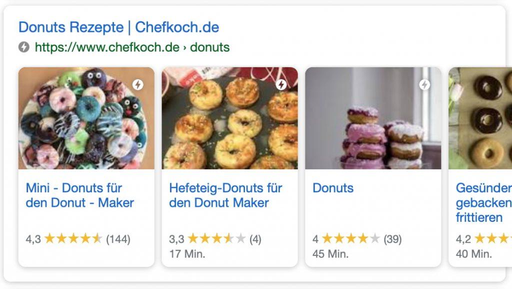 Suchtreffer bei Google mit Auflistung mehrere Treffer auf einer Seite (Karussell )