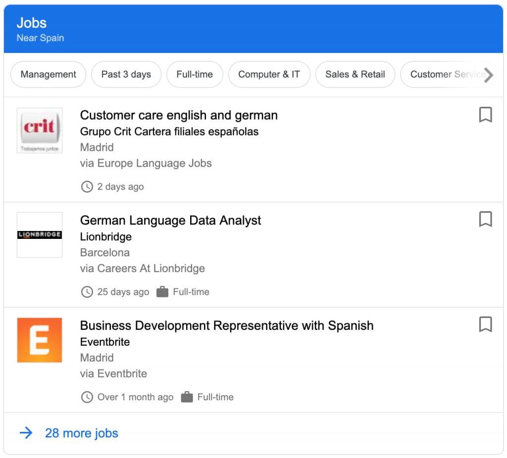 Beispiel für Strukturierte Daten für Stellenausschreibungen