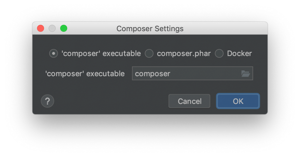 Composer-Einstellungsfenster in PHPStorm mit auszuwählender Ausführumgebung
