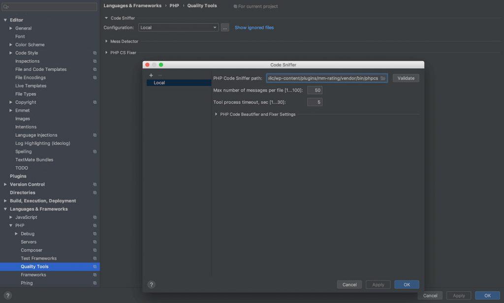 Das Einstellungsfenster in PHPStorm zum Einstellen des Pfads zur phpcs-Datei.