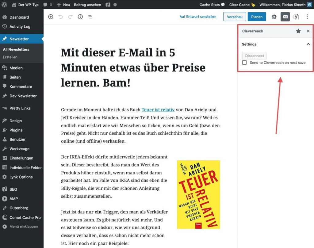 Cleverreach-Einstellungen im Gutenberg-Editor